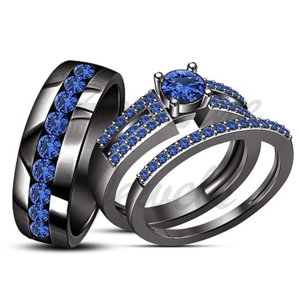 ArtLine Jewels New! 2.10Ctw Round Cut Blue Sapphire 14K Black Gold Finish Alloy His & Her Trio Ring Set by ArtLine Jewels