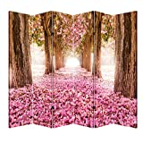creative room dividers Toa 6 Panel Office Wood Folding Screen Decorative Canvas Privacy Partition Room Divider, Pink Pathway