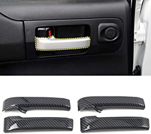 HIGH FLYING for Toyota Tundra Crewmax, Double Cab 2014-2019 Car Accessories Door Handles Cup Strip Decor Trims 4PCS ABS Carbon Fiber Grain