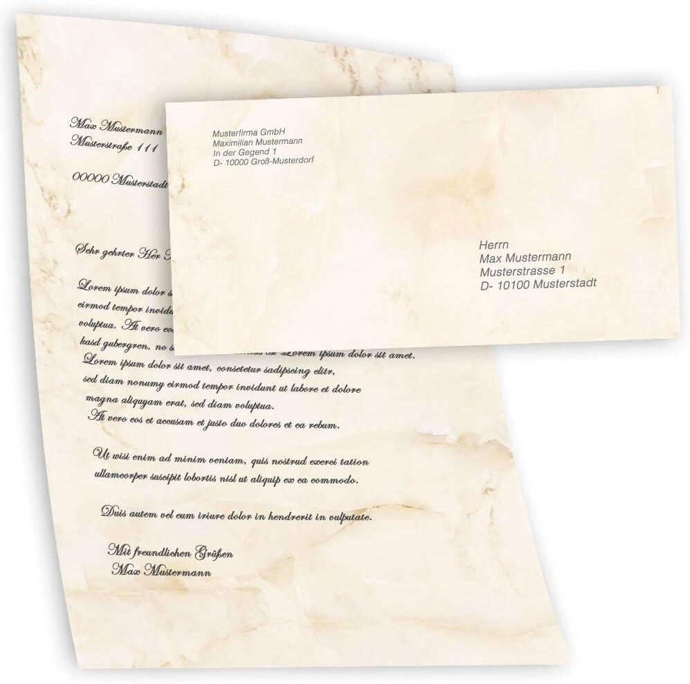 con finestra | Paper-Media MARMO BEIGE 50 fogli di carta da lettera e 50 buste DIN LANG Motivo-set di cancelleria Marmo /& Struttura
