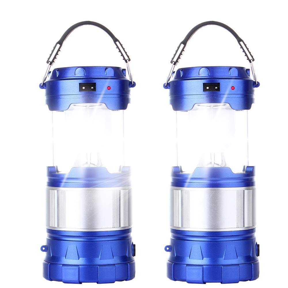 2 Pack Outdoor Camping Lamp, Portable Outdoor Rechargeable Solar LED Camping Light Lantern Handheld Flashlights with USB Charger, Perfect Hiking Fishing Emergency Lights - (2 Pack-Blue) by CaseTop