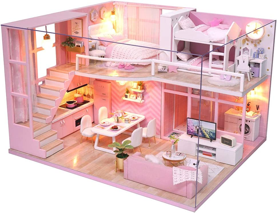 Spilay Dollhouse Miniature with Furniture,DIY Dollhouse Handmade Mini Modern Apartment Model Plus Dust Cover & Music Box ,1:24 Scale Doll House Toys Creative Gift for Children Friends (Dream Angels)