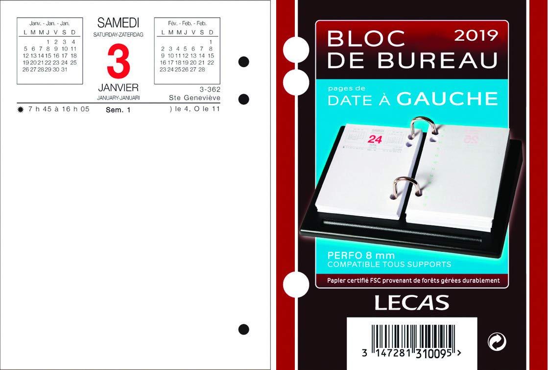 Lecas - 1 Bloc Ephémérides de Bureau Date à Gauche - Année 2019- 8,5 x 11,5 cm 400069571