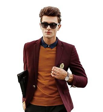 Amazon.com: manluo para hombre traje de chamarra de lana ...