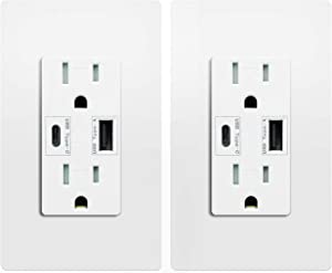 USB Type C Wall Outlet Dual High Speed Duplex Receptacle 15 Amp, Smart 4.8A Quick Charging Capability, Tamper Resistant Wall Plate Included UL Listed, Not for laptops, Type C 2 pack