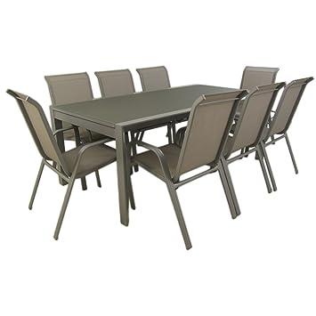 Edenjardi Conjunto de jardín Color Gris| Mesa Extensible 200/300 y 8 sillones apilables | Aluminio Reforzado | 8 plazas | Portes Gratis
