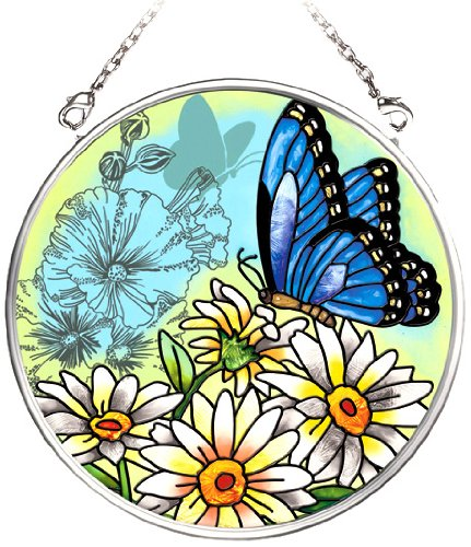(Amia 5684 Hand Painted Glass Suncatcher with Butterfly Design, 3-1/2-Inch Circle)
