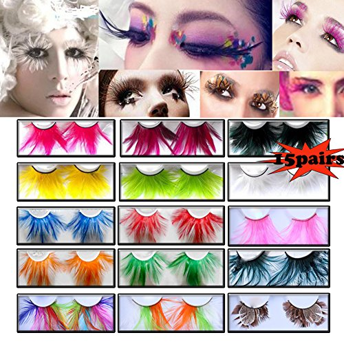 Lookathot 15 Pairs Feather False Eyelashes Eye Lashes- Natural Handmade Reusable Extensional Charming Sexy Funny Ladies Styles- Deluxe Party Stage Dance Costume -