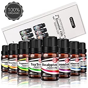 Innoo Tech Essential Oils Set 8 x 10ml 100% Pure Oils Gift Set for Women and Men Lavender, Tea Tree, Eucalyptus, Frankincense, Lemongrass, Rosemary, Sweet Orange, Peppermint Aromatherapy Oil