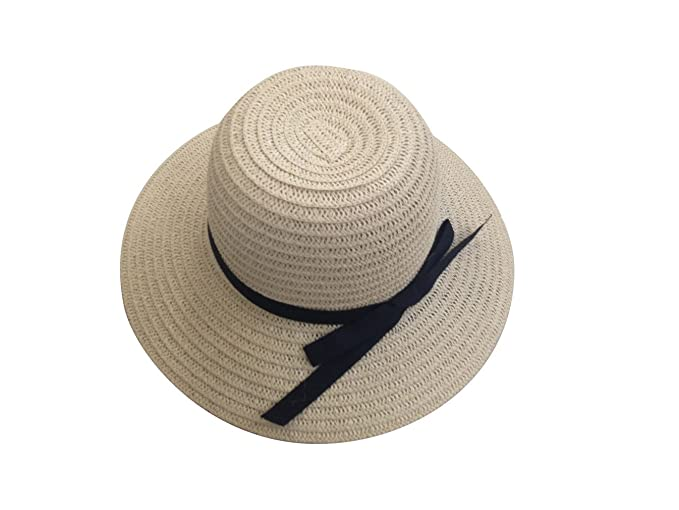 Jtc Women s Fedora Hat - Bucket Hats Straw with Black Bow Ribbon (Beige) d7e6971e343