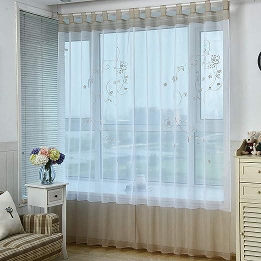 WINYY Cortinas Transparentes con diseño Floral para Dormitorio ...
