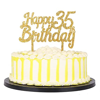 Image Unavailable Not Available For Color Gold Glitter Acrylic Happy Birthday 35th Cake Toppers