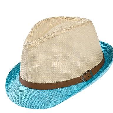 WeiMay Anti-UV Cappello Panama di Paglia Universal Leather Buckle Unisex  Panama Cappellino da Spiaggia 8e2e84a58708