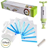 MOYEAH Vacuum Sealer With Hand Pump -Sous Vide Bags Kit For Anova Cookers -Food Saver Vacuum System -Storage Bags Sealed,Reusable,Practical,Easy To Use, 1 Pump and 10 BPAFree Food Vacuum Sealed Bags