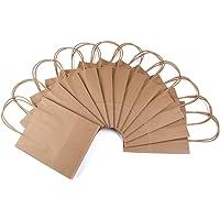 24 geschenktasjes met handvat, geschenktasjes van bruin kraftpapier, natuurlijk papier, 24 geschenkzakjes in een set