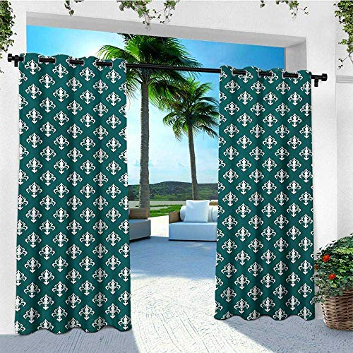 - leinuoyi Fleur De Lis, Outdoor Curtain Set, Royal Lily Pattern Abstract Ornamental France Culture Inspired Illustration, for Patio W108 x L108 Inch Teal White