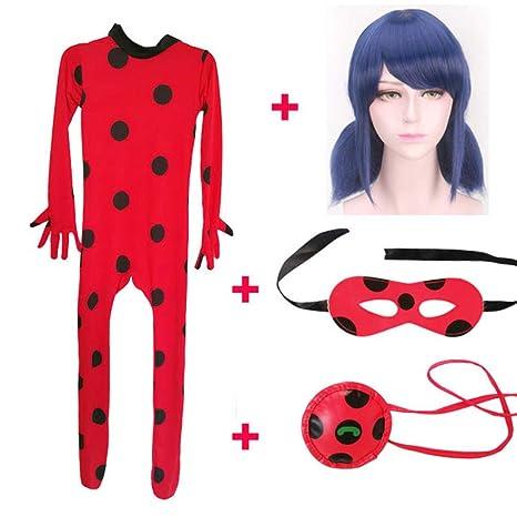 Ladybug Costume with Wig Kids Cosplay Jumpsuit Girl Halloween Suit