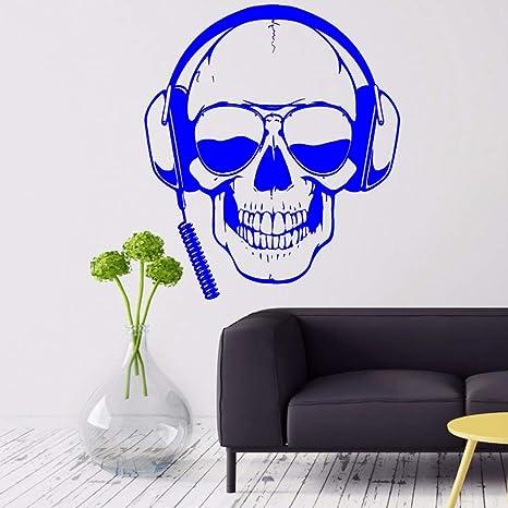 Gamer Tatuajes de pared Cráneo Auriculares Gamer Etiqueta de ...