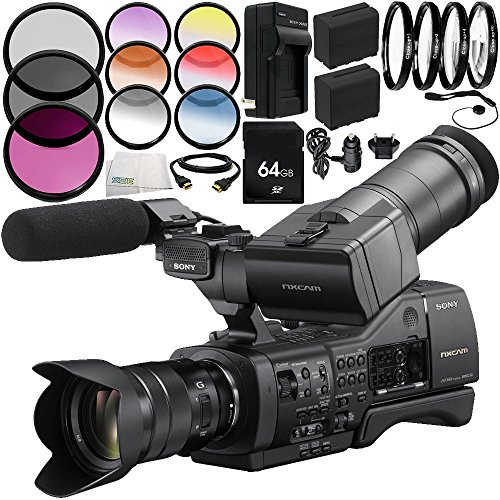 Sony NEX-EA50UH Camcorder 12PC Accessory Bundle – Includes 64GB SD Memory Card + 3PC Filter Kit (UV + CPL + FLD) + 4PC Macro Filter Set (+1,+2,+4,+10) + MORE by SSE