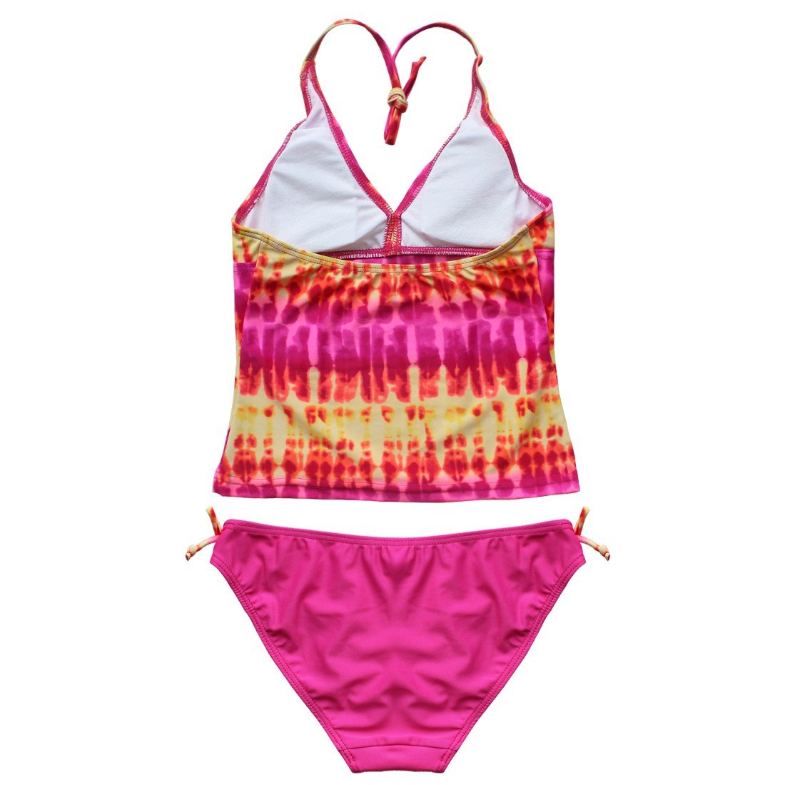iEFiEL Big Girls Fashion Tie-Dye Halter Tankini Set Beach Holiday Swimwear Bathing Suit