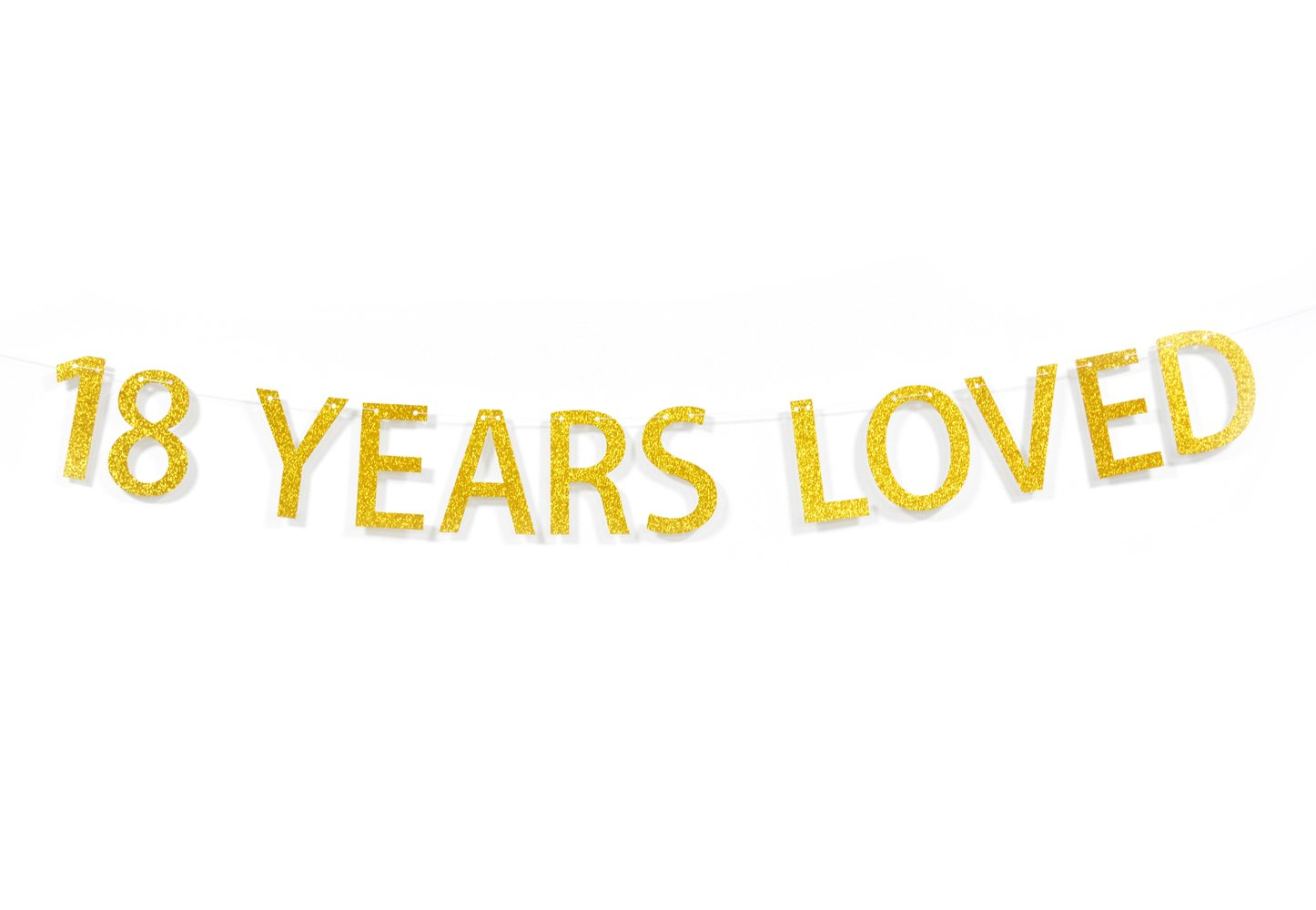 Qttier™ 18 Years Loved Gold Glitter Banner for 18th Birthday Anniversary Party Decoration