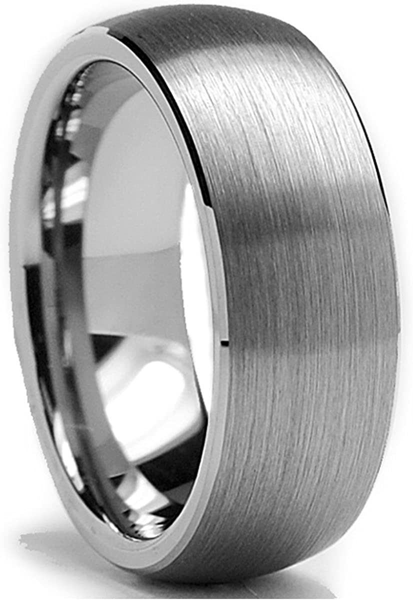 Metal Masters Co. Tungsten Carbide Men's Dome Brushed Wedding Band Comfort Fit Anniversary Ring 8 MM Sizes 6 to 15