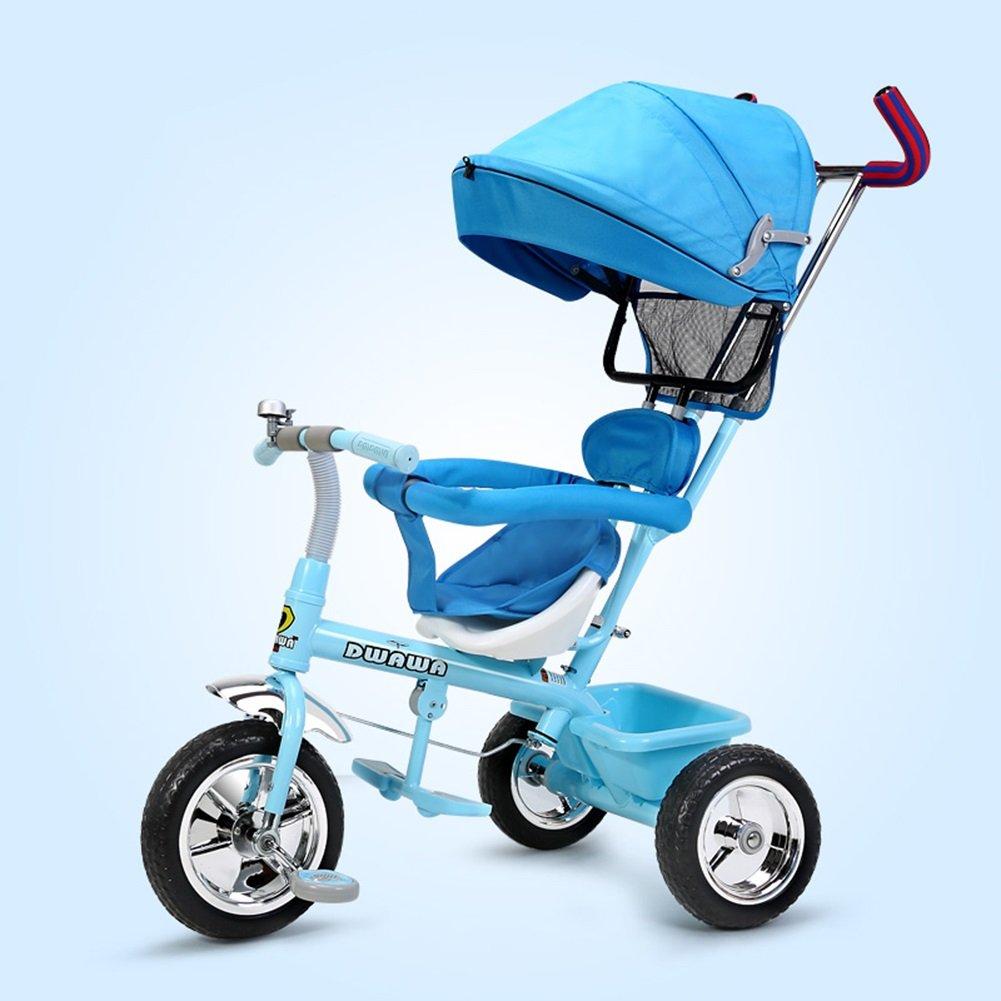 XQ 耐衝撃性 子供 1-3歳 トロリー ベビーキャリッジ 子ども用自転車 ( 色 : 青 ) B07C6QP2CY 青 青
