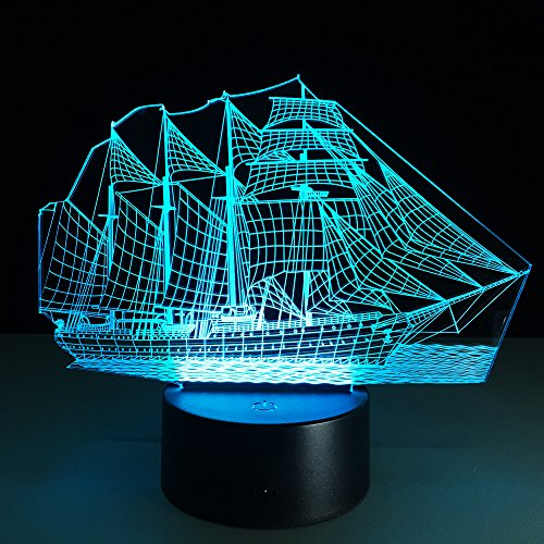 Creative 3D Illusion Lamp Boat LED Night Light 3D Acrylic Discoloration  Colorful Gradient Atmosphere Lamp Novelty Lighting