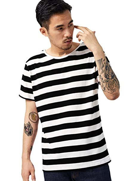 021d44ed15a Zbrandy Black and White Striped Shirt Men Stripe T Shirt Cotton Top Tee  Black Striped S
