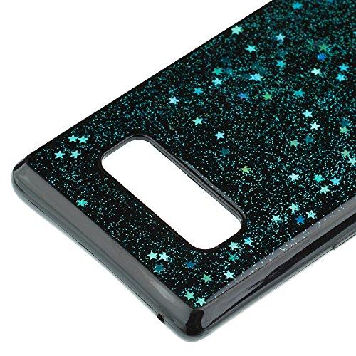 Carcasa Samsung Galaxy Note 8, EUWLY Funda Samsung Galaxy Note 8 Silicona Elegante Moda Lujo Alta Calidad Suave Negro TPU Silicona Funda Glitter Brillante Estrellas Bling Brillo Pentagram Diseño Coagu Estrellas Brillantes,Azul Verde