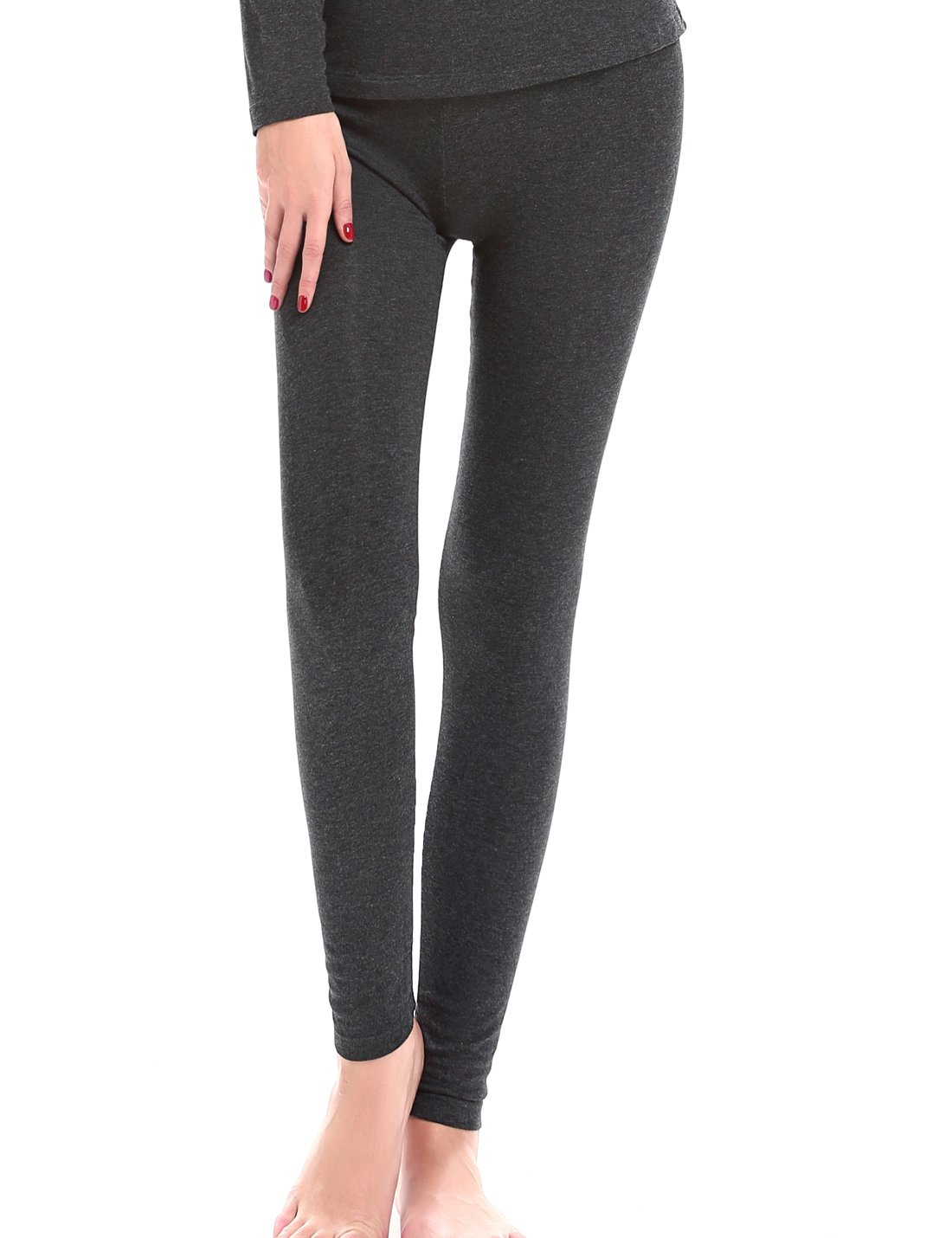 Liqqy Women's Ultra Thin Stretch Baselayer Thermal Underwear Bottom Pants (Medium, Charcoal)