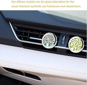 Qitindasen 2pcs Premium Auto Aromatherapie Ätherische Öle Diffusor Auto Aromatherapie Edelstahl Vent Clip Mit 40pcs Ersatz Filzunterlage 10 Farben Ohne Öl Lebensbaum Glücksbaum Baumarkt