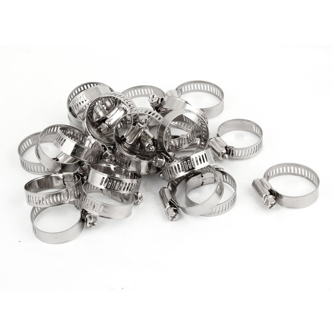 Uxcell Hardware Tool Worm Drive Hose Clamp (25 Piece), 18-32mm