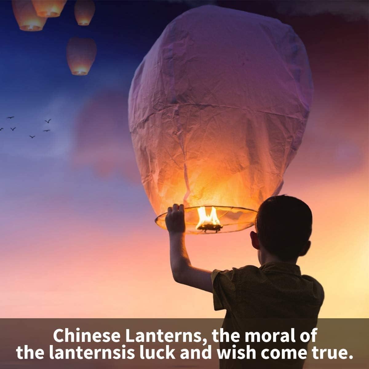 Memorials /& More 20 White Chinese Sky Lanterns Biodegradable for Weddings Japanese Paper Lantern. Festivals New Years