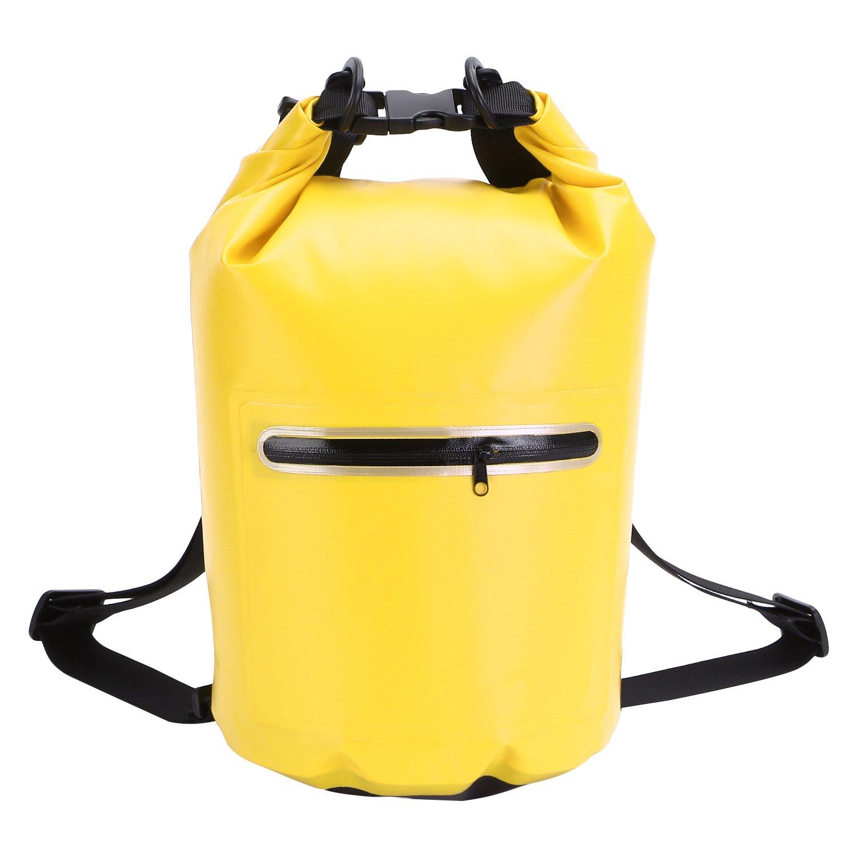 XMTIKO Doble Geschultert Seco Bolsa 10L, 20L Impermeable Bolsillos Ideal para Barco Conducción, Pesca, Rafting, Natación, Flotando, Camping