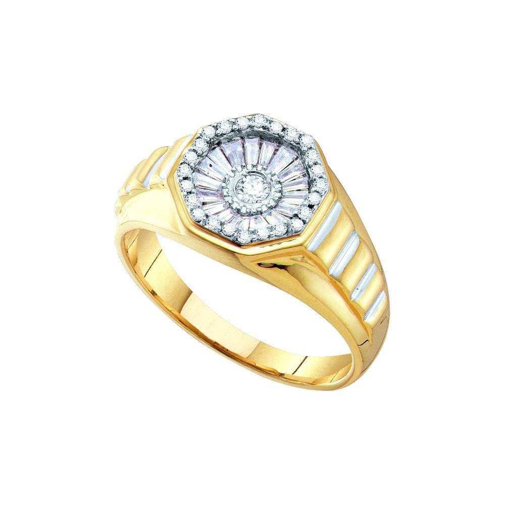 14kt Yellow Gold Mens Round Diamond Two-tone Concave Cluster Ribbed Ring 1/2 Cttw (I2-I3 clarity; J-K color)