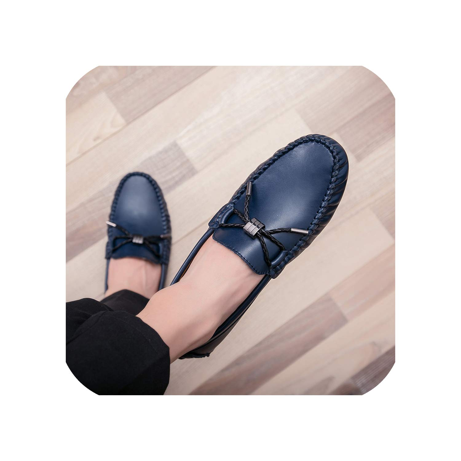 bluee Leather Casual shoes Men's Breathable Solid color Peas shoes and Wild Driving