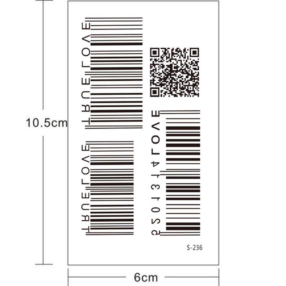 5 Pcs Barcode Temporary Tattoo Body Painting QR Code Fake Tattoo Stickers for Arms Legs Shoulder or Back Waterproof Fashion Removable Tattoo Sticker Women Men Kids Individual Styles Available (B) by paway (Image #2)
