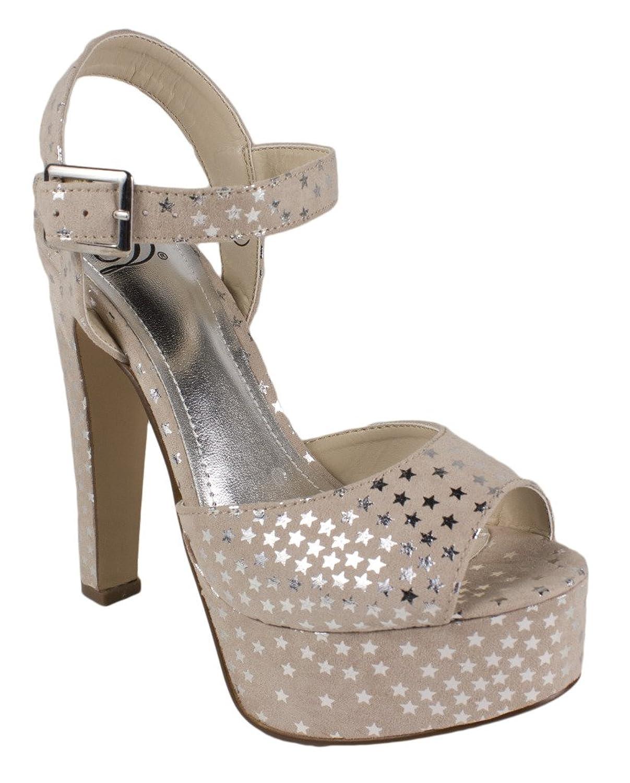 Rimose! By Delicious Ankle Strap Platform High Heel Dress Sandals in Stone Beige Star Faux Suede B00BCPMXCK 6 B(M) US