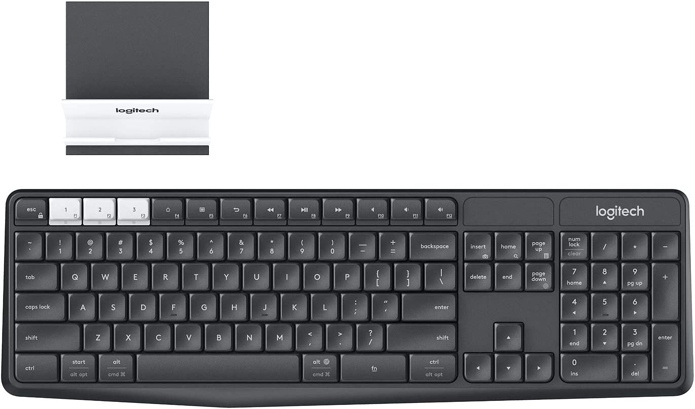 Logitech K375s Multi-Device Teclado Inalámbrico y Soporte para Windows/Apple/Android/Chrome, 2,4 GHz y Bluetooth, Tamaño Normal, PC/Mac/Smartphone/Tablet, Disposición QWERTY UK, Color Negro/Blanco