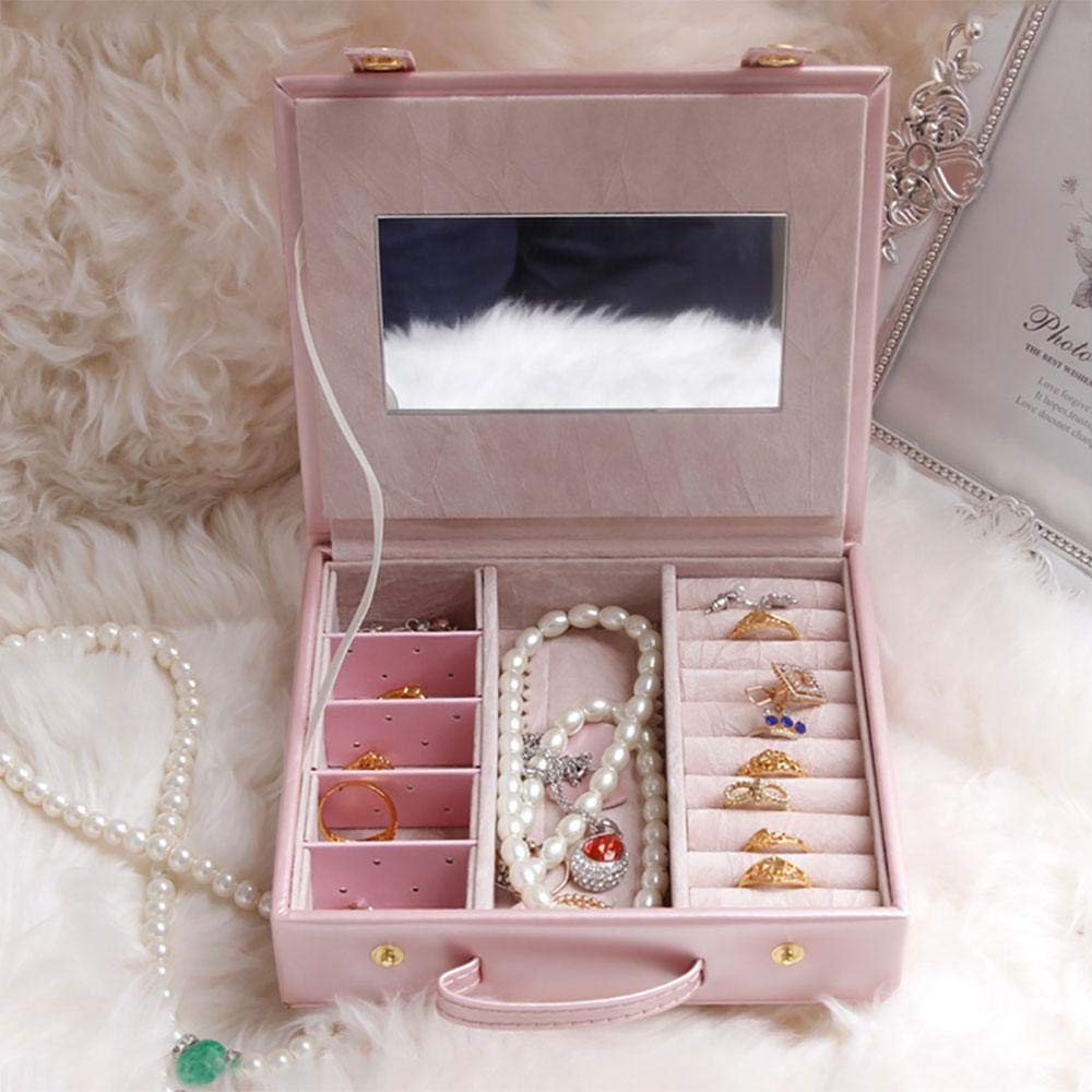 Umiwe Hard Shell Pink Jewelry Box Crush Proof Jewellry Organizer Storage for Girls with Mirror Travel Jewelry Case for Rings Earrings Necklaces Bracelets