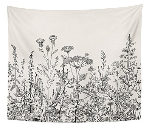 (Emvency Tapestry Floral Border Herbs and Wild Flowers Botanical Engraving Style Black and White Home Decor Wall Hanging 50