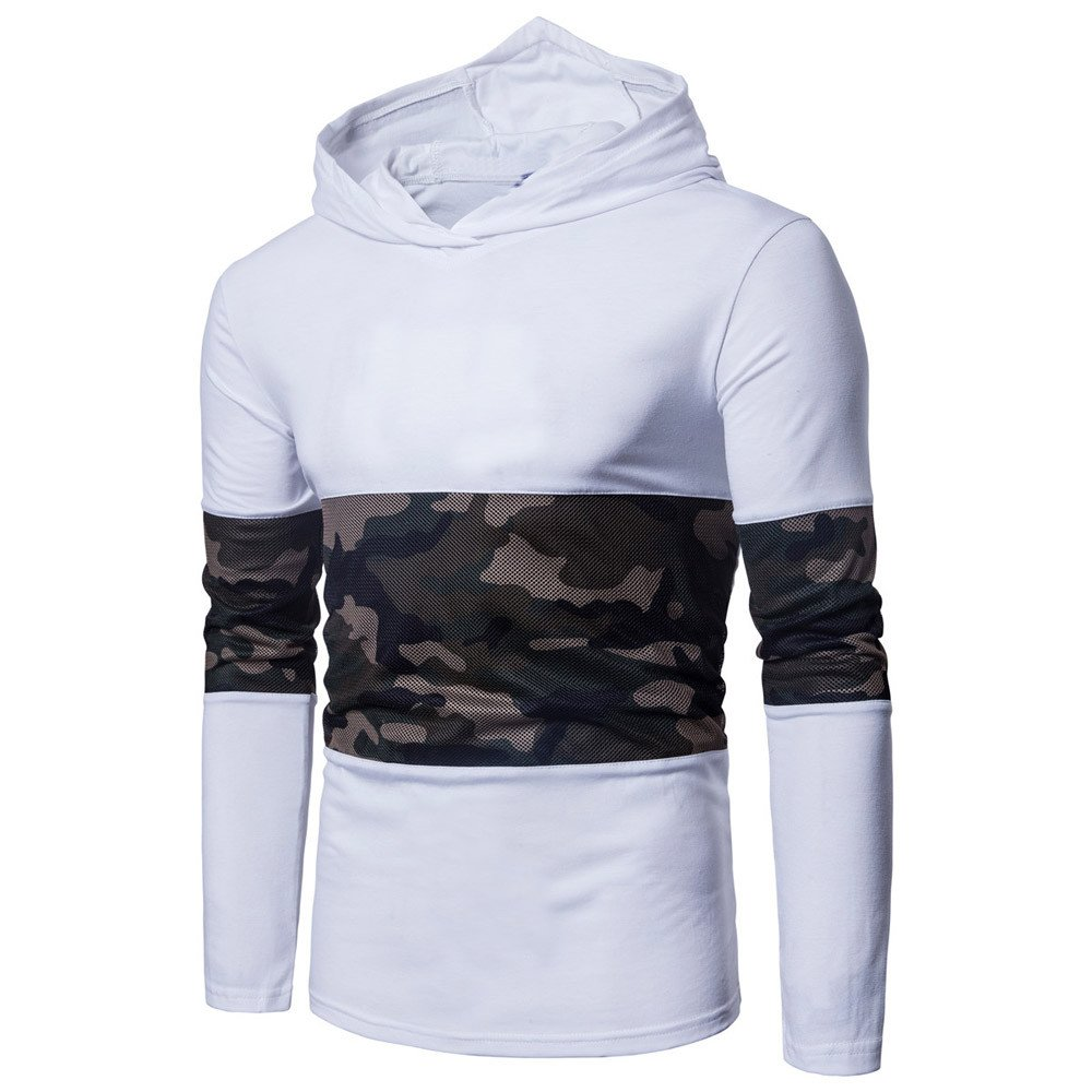 Charberry Mens Hooded Camouflage Stitching Long Sleeve Sweater 2018 Newest Shirt Multicolor Tee Outwear Blouse (US-S/CN-M, White)