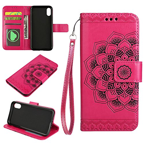 Cfrau Wallet Case with Black Stylus for iPhone X,Retro 3D Henna Mandala Floral Embossed Magnetic Strap Flip PU Leather Card Slots Stand Soft Rubber Case for iPhone X/XS 5.8 inch,Hot Pink