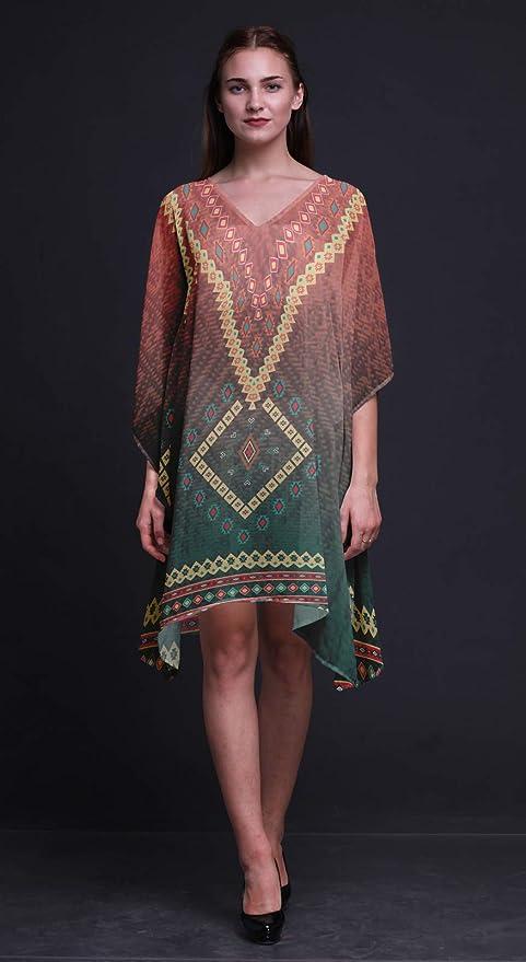 SUB-KFL32A Phagun Aztec Geometric Ladies  Holiday Loungewear Maxi Dress Beach