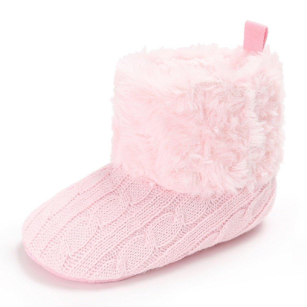 Meeshine Baby Infant Snow Boots Fur Anti-Slip Soft Sole Newborn Toddler Boys Girls Prewalker Crib Shoes Slip On Boots(Large(12-18 Months),Pink)