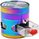 CigaMaTe Grinder Herb Grinder 4 Pieces Rainbow Grinders 2.5'' Zinc Alloy Clear top Grinder with Drawer (Colorful)