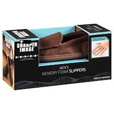 Dark Brown Mens Sharper Image Memory Foam Gentle Support Brown Loafer With Rubber Sole Size Large 9-10