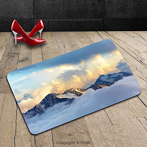 Custom Machine-washable Door Mat Decorations Alpine Landscape With Peaks Covered By Snow And Clouds Panoramic View Picture Decores Indoor/Outdoor Doormat Mat Rug Carpet