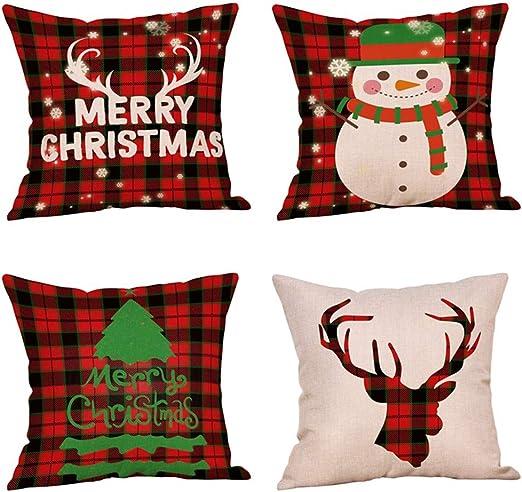 Cotton Buffalo Plaid Christmas Pillow Case Throw Cushion Cover Xmas Home Decor